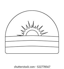 Sunrise icon in outline style isolated on white background. Weather symbol stock bitmap illustration.