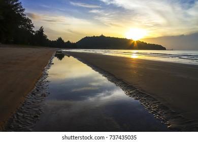 Sunrise idyllic with sand the beach Ban Krut Beach,  in Prachap Kirikhun Province Thailand is famous for travel