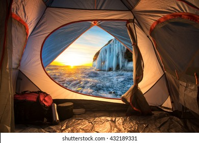 Sunrise inside a Tent. Camping concept
