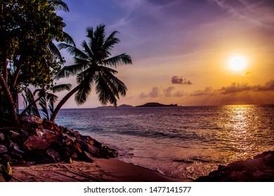 sunrise at the Island Praslin, Seychelles