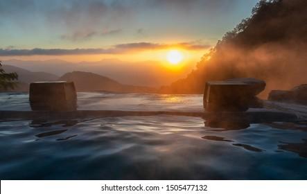 Sunrise in the Japanese hot spring, Yari Onsen, Hakuba, Japan