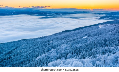 Sunrise at the Jested mountain, Czech republic