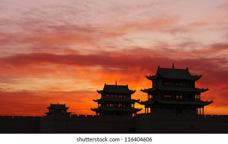 Sunrise of the Jiayuguan Pass Tower in GanSu,China