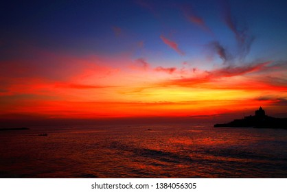 Sunrise at Kanyakumari,India: Kanyakumari is famous for its spectacular view of sea and attracts many tourists throughout the year.From the Kanyakumari one can view spectacular sunrise and sunset.