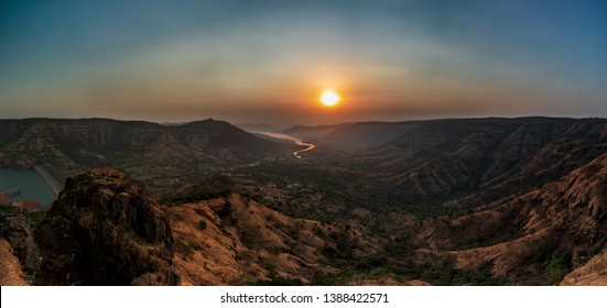 Sunrise at Kate's Point, Mahabaleshwar. A Pano stitch of six vertical images