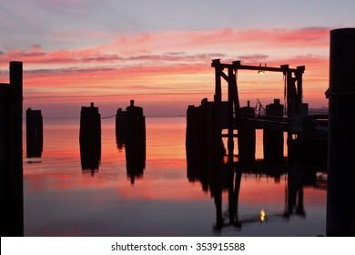 Sunrise at Knott's Island Ferry in Currituck County