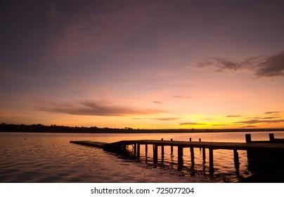 Sunrise at Lago Paranoa in Brasilia, Brazil