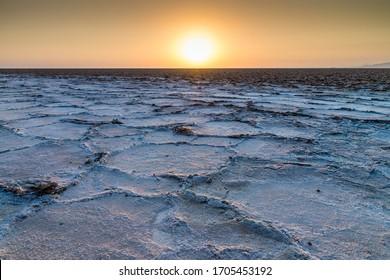 Sunrise at the Lake Assal, Danakil Depression, Ethiopia, Africa