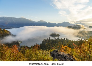 Sunrise at lake Bled from Ojstrica viewpoint, Slovenia, Europe