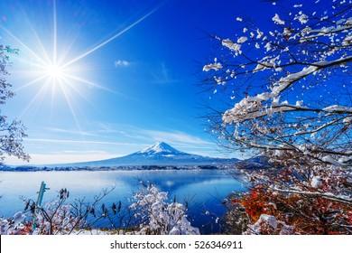 Sunrise at the lake Kawaguchiko,Fuji Mountain Background