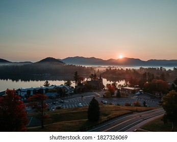 Sunrise at Lake Placid. Aerial view. Beautiful village with mountain and lake view. - Shutterstock ID 1827326069