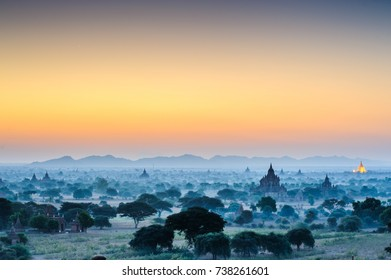 Sunrise landscape Ariel view with silhouettes of old temples Bagan Myanmar (Burma). Beautiful sky in dramatic time. Travel in Asia
