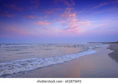 Sunrise Landscape, Beach View East Coast of the United States, the Grand Strand, Atlantic Beach, Crystal Coast, North Carolina, USA
