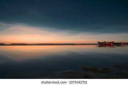 Sunrise landscape at Jericoacoara beach, Brazil,