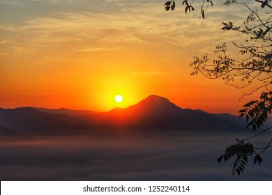 Sunrise landscape , morning sky in warm tone.
