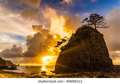 Sunrise, landscape. Okinawa, Japan, Asia.