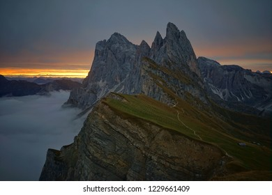 sunrise landscape at Seceda mountain top, Belluno, Italy