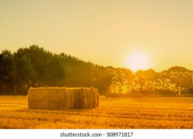 Sunrise landscape with straw bales in the morning