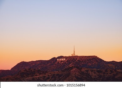 Sunrise landscape view of hills and Hollywood sign in Los Angeles, California, USA