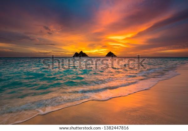 Sunrise Lanikai Beach Kailua Oahu Stock Photo Edit Now