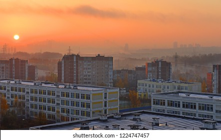 Sunrise in late autumn in Moscow city, Russia