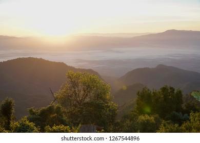 Sunrise light in the mountain landscape.