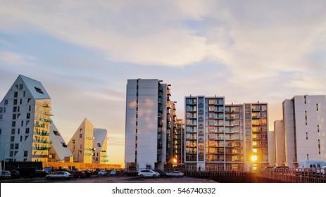 Sunrise light though apartment complex on Aarhus Island