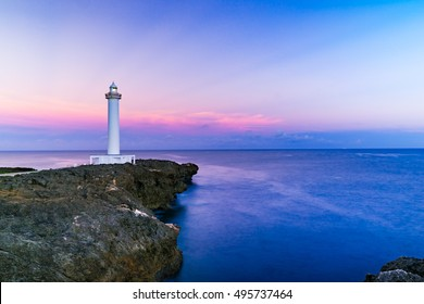 Sunrise, lighthouse, landscape. Okinawa, Japan, Asia.