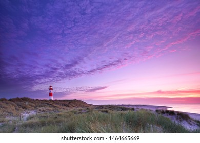 sunrise at Lighthouse List East on the island Sylt