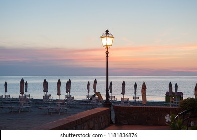 sunrise in Ligurian beach in Italy of Laigueglia