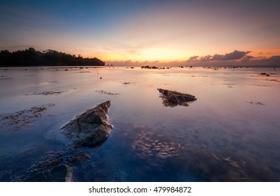Sunrise at Limau-Limauan Beach Kudat Sabah Malaysia. Image contain soft focus and blur due to long expose and artistic value.