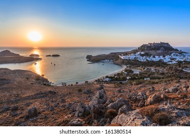sunrise in the Lindos. Rhodes island, Greece