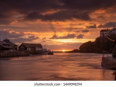 Sunrise at Looe Harbour Cornwall on the Cornish coast