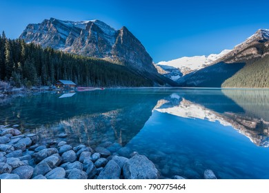 Sunrise at Louise lake, Banff National Park, Rocky Mountains, Alberta, Canada,