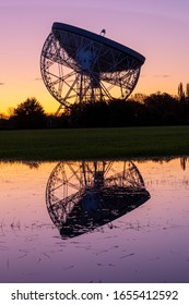 Sunrise at the Lovell Telescope at Jodrell Bank in the Cheshire landscape - a UNESCO World Heritage Site. Radio Telescope Centre for Astrophysics at the University of Manchester