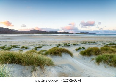 Sunrise from Luskentyre Beach on the Isle of Harris in the Outer Hebrides