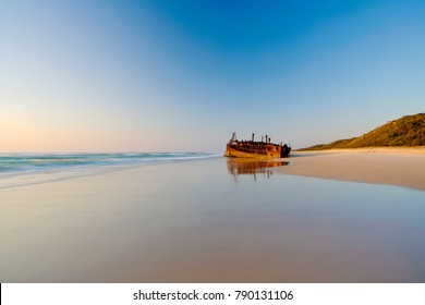Sunrise at the Maheno Shipwreck on Fraser Island's 75 mile beach in Queensland, Australia