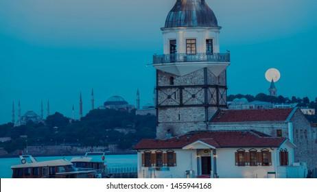 sunrise maiden's tower moonset, istanbul Turkey