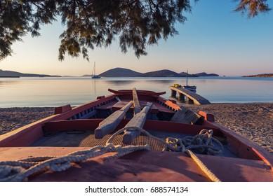 Sunrise in Maltezana beach at Astypalaia island Greece