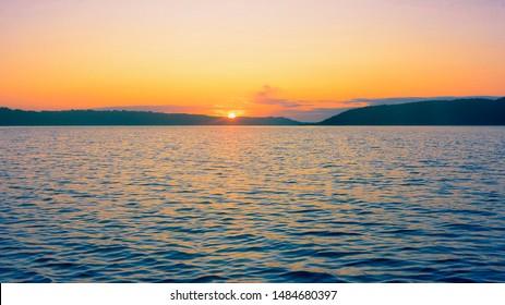 Sunrise at Mariager Fjord near Hobro City