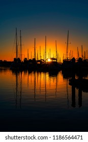 Sunrise at the marina at Ventura Harbor in California