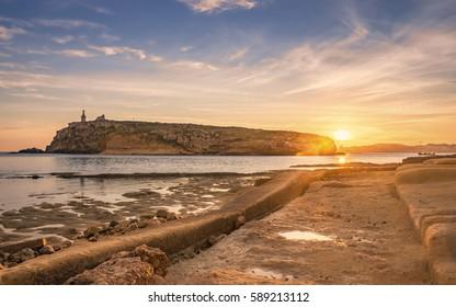 Sunrise in the Mediterranean Malta`s St Paul Island.