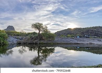sunrise in Mexico baja california landscape beautiful colors of Sierra Guadalupe creek panorama in stone desert