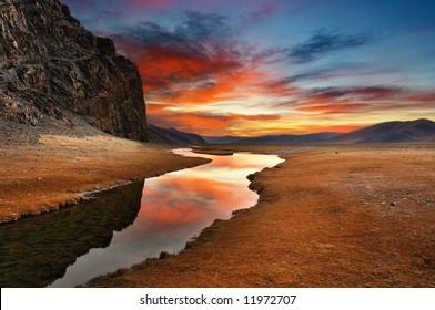 Sunrise in mongolian desert