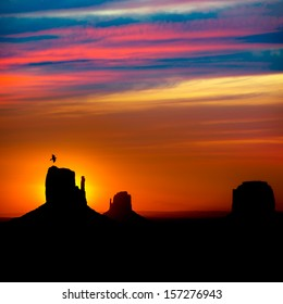 Sunrise at Monument Valley West and East Mittens and Merrick Butte with crow Utah