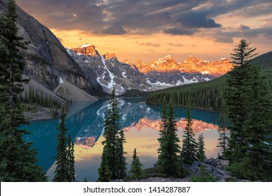 Sunrise at the Moraine lake in Banff National Park, Canada.