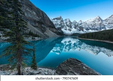 Sunrise at Moraine lake, Banff National Park, Rocky Mountains, Alberta, Canada,