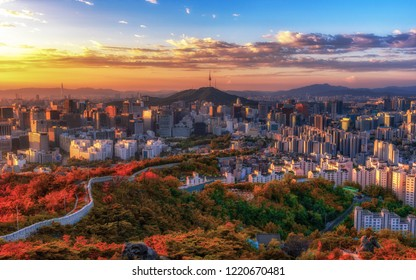 Sunrise morning in Autumn season of Inwangsan mountain in Seoul,South Korea.