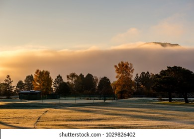 Sunrise morning foggy landscape in Estes Park. Rocky Mountains, Colorado, USA.