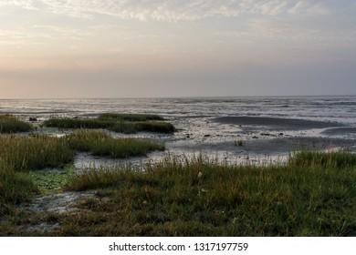 Sunrise in the morning, Het Oerd, Ameland wadden island, The Netherlands